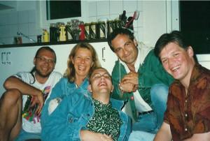 """Stora Stygga"" Trumpet Section 1996. Thomas Florhed, Ann-Sofie Söderqvist, Mårten, Håkan Knutas, Hans Dyvik"